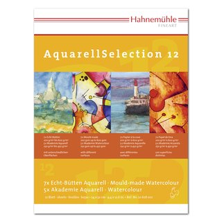 Hahnemühle AquarellSelection 12 Aquarellpapier Set (17 x 24cm, 12 Blatt)